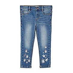 Outfit Kids - Girls' blue mid wash jeans with embroidery
