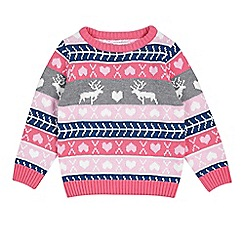 Outfit Kids - Girls' Grey and Pink Fair Isle Jumper