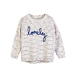 Outfit Kids - Girls' white slogan jumper with neppy details