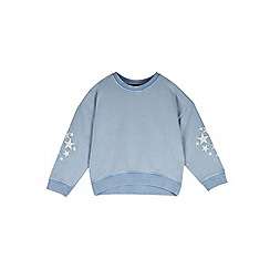 Outfit Kids - Girls' blue acid wash sweat top