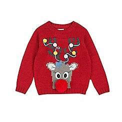 Outfit Kids - Girls' red reindeer jumper