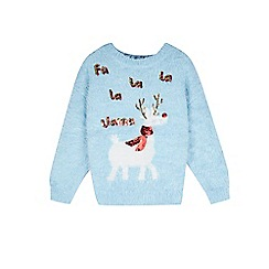 Outfit Kids - Girls' blue eyelash christmas jumper