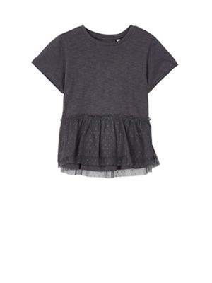 Outfit Kids   Girlsu0027 Grey Peplum Mesh T Shirt