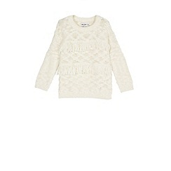 Outfit Kids - Girls' white fringe knitted jumper