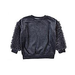 Outfit Kids - Girls' grey fluffy sweatshirt