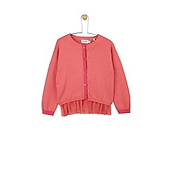 Outfit Kids - Girls' coral knitted cardigan with mesh hem