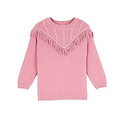 Outfit Kids - Girls' pink fringe knitted jumper