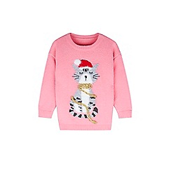 Outfit Kids - Girls' pink cat christmas jumper
