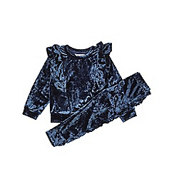 Outfit Kids - Girls' navy velvet tracksuit set