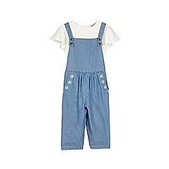 Outfit Kids - Girls' blue chambrais dungaree set