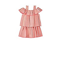 Outfit Kids - Girls' pink striped pom-pom top and skirt set