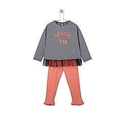 Outfit Kids - Girls' navy striped slogan top and legging set