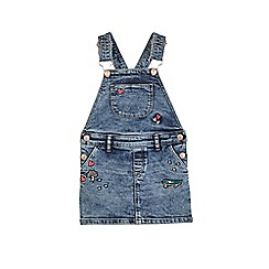 Outfit Kids - Girls' blue mid wash badged pinafore dress