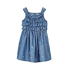 Outfit Kids - Girls' blue chambray embroidered dress
