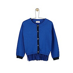 Outfit Kids - Girls' blue knitted cardigan with mesh hem