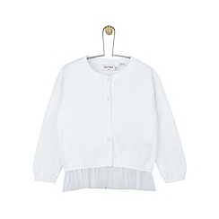 Outfit Kids - Girls' white knitted cardigan with mesh hem
