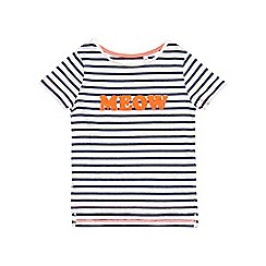 Outfit Kids - Girls' long sleeve 'Meow' stripe t-shirt