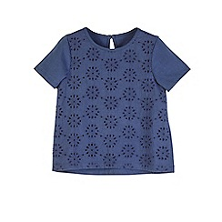 Outfit Kids - Girls  navy broderie mix t-shirt 8e6a62adb7dc
