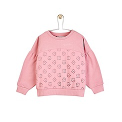 Outfit Kids - Girls' pink sweatshirt with broderie sleeves