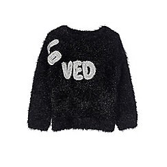Outfit Kids - Girls' black eyelash jumper