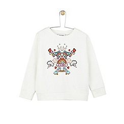 Outfit Kids - Girls' ivory white sweatshirt with roller skate motif