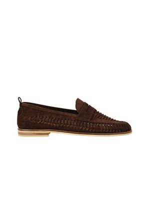 Burton - Brown suede look loafers