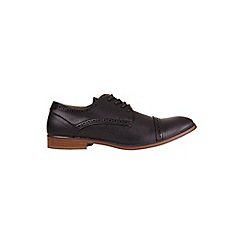 Burton - Black leather look brogue shoes