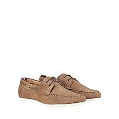 Burton - Tan suede look boat shoes