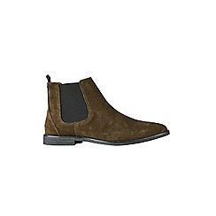 Burton - Khaki real suede Chelsea boots