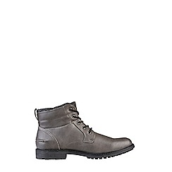 Burton - Grey leather look worker boots