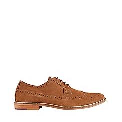 Burton - Tan suede brogue shoes