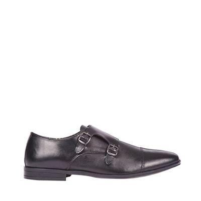 Burton - Black leather monk shoes