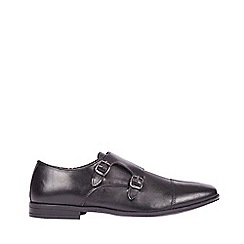 Burton - Black leather monk shoes
