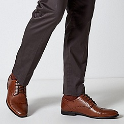 Burton - Tan Leather Look Brogue Shoes