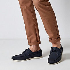 Burton - Navy Leather Look Boat Shoes