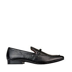 Burton - Black Leather Saddle Loafers
