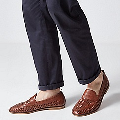 Burton - Tan Leather Look Woven Loafers