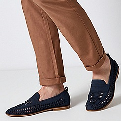 Burton - Navy Leather Look Woven Loafers