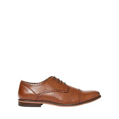 Burton - Tan look leather look Tan derby shoes 50032b