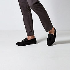 Burton - Black Suede Tassel Loafers