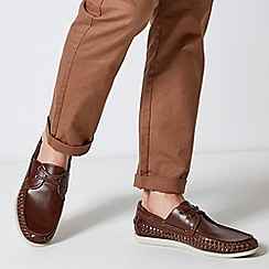 Burton - Brown Leather Look Boat Shoes