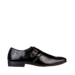 Burton - Black Leather Look Monk Shoes