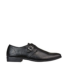 Burton - Black Leather Look Hi Shine Monk Shoes