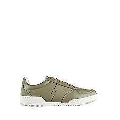 Burton - Khaki Leather Look Trainers