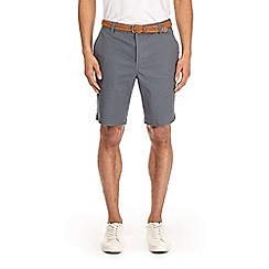 Burton - Grey textured belted shorts