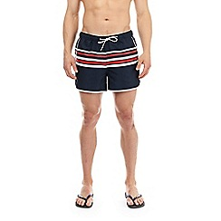 Burton - Navy retro striped runner swim shorts