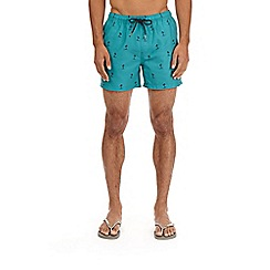 Burton - Bright green palm print swim shorts