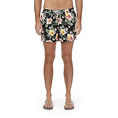 Burton - Black dark floral print regular pull on swim shorts