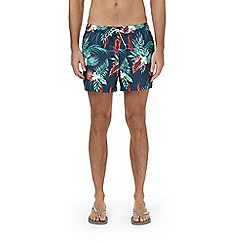 Burton - Blue marine print regular pull on swim shorts