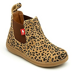 Chipmunks - Girls leopard print suede Chelsea boots